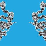 与风格化蓝色的海洋无缝的样式在轻的背景挥动 水波摘要设计 有海草的天蓝色的海传统化 皇族释放例证