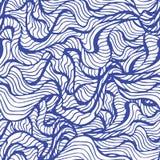 与风格化蓝色的海洋无缝的样式在轻的背景挥动 水波摘要设计 皇族释放例证