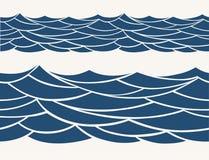与风格化蓝色的海洋无缝的样式在轻的背景挥动 库存照片