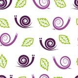 与风格化蜗牛和叶子的无缝的样式 库存图片