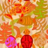 与风格化部族水生动植物的无缝的样式 免版税图库摄影