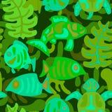 与风格化部族水生动植物的无缝的样式 免版税库存图片