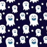 与风格化cartoony鬼魂的一个无缝的传染媒介样式 库存照片