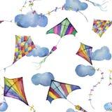 与风筝和云彩的水彩无缝的样式 与减速火箭的设计的手拉的葡萄酒风筝 在白色后面隔绝的例证 免版税库存照片