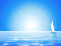 与风船的蓝色海风景 库存图片