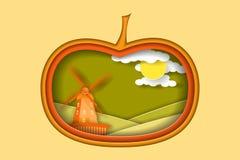 与风车和大南瓜的秋天农村风景 纸裁减塑造并且分层堆积当乡下设计 皇族释放例证