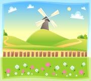 与风车的滑稽的风景。 免版税库存照片