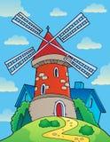 与风车题材1的小山 免版税图库摄影
