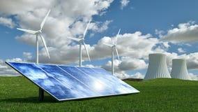 与风轮机、太阳电池板和核能能源厂的可选择能源概念 库存图片