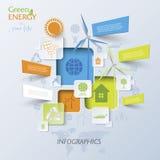 与风轮机的抽象传染媒介Infographic,绿色能量 库存图片
