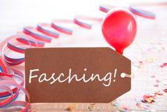 与飘带和气球,文本Fasching手段狂欢节的党标签 免版税图库摄影
