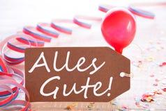 与飘带,气球, Alles Gute的党标签意味最好祝愿 库存照片