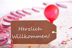与飘带,气球, Herzlich Willkommen手段欢迎的党标签 库存图片