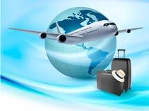 与飞机和地球的背景。 免版税库存图片