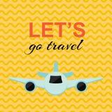 与飞机和黄色背景的旅行的海报 向量例证