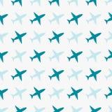 与飞机的传染媒介无缝的蓝色样式 免版税库存照片