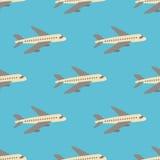 与飞机的无缝的样式 库存照片