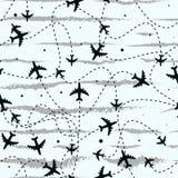 与飞机的无缝的模式 在概念旅行世界范围内 向量背景 库存例证