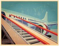 与飞机的葡萄酒海报 免版税库存图片