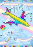 与飞机的Infographic集合要素在raibow 库存照片