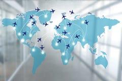 与飞机路线的地图 免版税库存图片