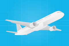与飞机飞机的Lets旅行的海报象 库存照片