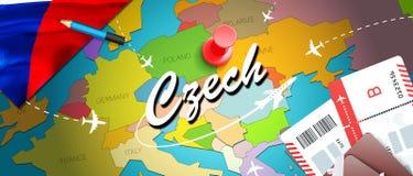 与飞机,票的捷克旅行概念地图背景 参观捷克旅行和旅游业目的地概念 在地图的捷克旗子 向量例证