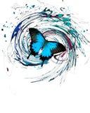 与飞溅和漩涡的蓝色蝴蝶 免版税库存照片