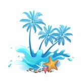 与飞溅的棕榈树 免版税库存图片