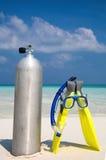 与飞翅的佩戴水肺的潜水在海滩的坦克和面具 免版税库存图片