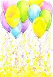 与飞行五颜六色的气球和五彩纸屑的生日背景 库存例证