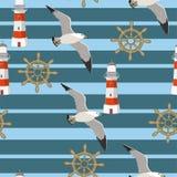 与飞行在小条,灯塔,手轮背景的海鸥的传染媒介无缝的样式  织品的,孩子s样式 向量例证