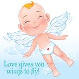 与飞行愉快的婴孩丘比特的传染媒介例证 库存图片