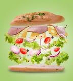 与飞行成份的三明治 结冰行动 特写镜头 柠檬绿背景 免版税库存图片