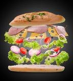 与飞行成份的三明治 结冰行动 特写镜头 黑色背景 库存图片