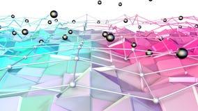 与飞行栅格或滤网的低多3D表面和作为可爱的背景的黑球形 软的几何低多背景 库存例证