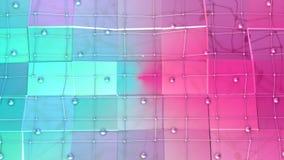 与飞行栅格或滤网的低多3D表面和作为壮观的背景的移动的球形 软几何低多 向量例证