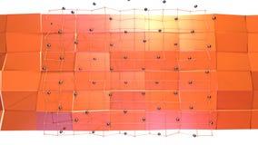 与飞行栅格或滤网的低多3D表面和作为普遍的环境的黑球形 软几何低多 向量例证