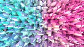 与飞行栅格或滤网的低多3D表面和作为梦想背景的黑球形 软的几何低多背景 库存例证