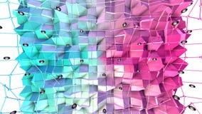与飞行栅格或滤网的低多3D表面和作为独特的背景的黑球形 软的几何低多背景 向量例证