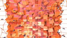 与飞行栅格或滤网的低多3D表面和黑球形当空间背景 软的几何低多背景 向量例证