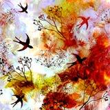 与飞行燕子的抽象风景在日出或日落天空 图库摄影