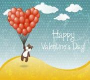 与飞行玩具熊的情人节卡片 免版税库存图片