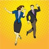 与飞行的纸张文件的男人和妇女跳舞  导航在漫画减速火箭的流行艺术样式的例证 库存例证