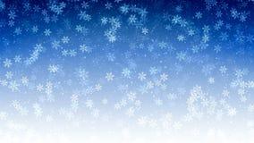 与飞行雪和雪花的蓝色无缝的抽象背景 使成环的行动图表 股票录像