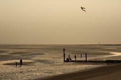 与飞行风筝的海滩日出 免版税库存照片