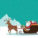 与飞行驯鹿场面的动画片圣诞老人 图库摄影