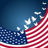 与飞行鸽子的USAAmerican旗子美国的美国独立日的 库存照片