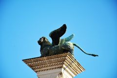 与飞过的狮子,威尼斯的专栏 库存图片