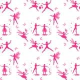 与飞过的舞蹈家、心脏、花和蝴蝶桃红色剪影的不可思议的无缝的样式  神仙和矮子跳舞芭蕾 皇族释放例证